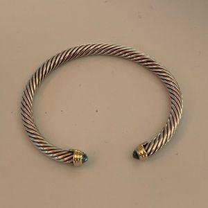 David Yurman Cable Classic Blue Topaz Bracelet 14K